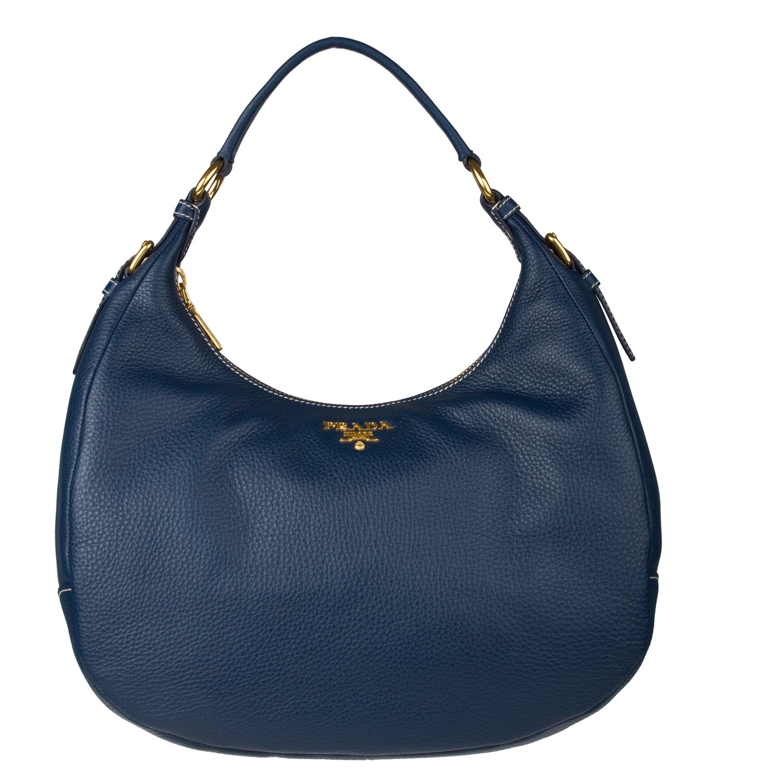 Prada Navy Blue Leather Hobo Handbag - Free Shipping Today ...