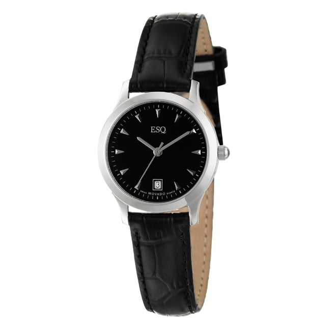 ESQ by Movado Women's 'Folio' Stainless Steel and Leather Quartz Watch