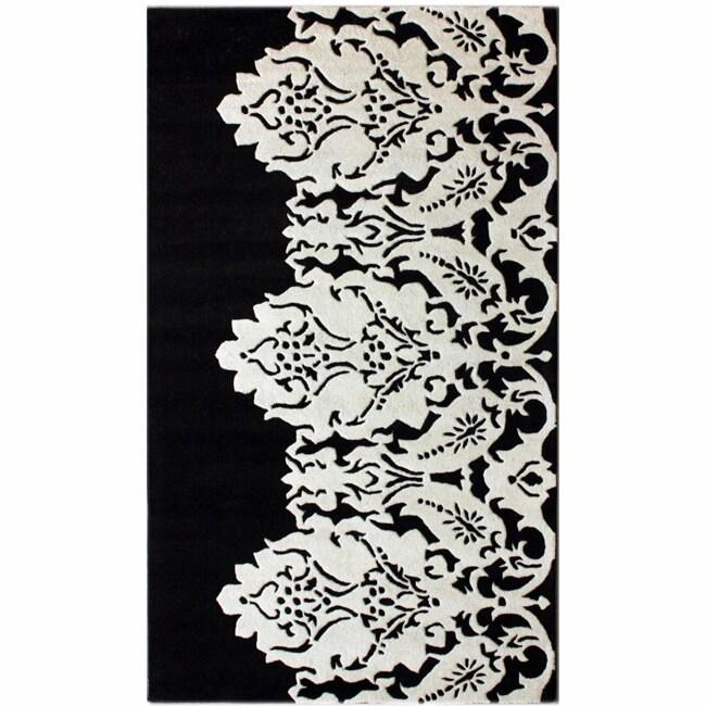 nuLOOM Handmade Italia Damask Black Wool Rug (7'6 x 9'6)