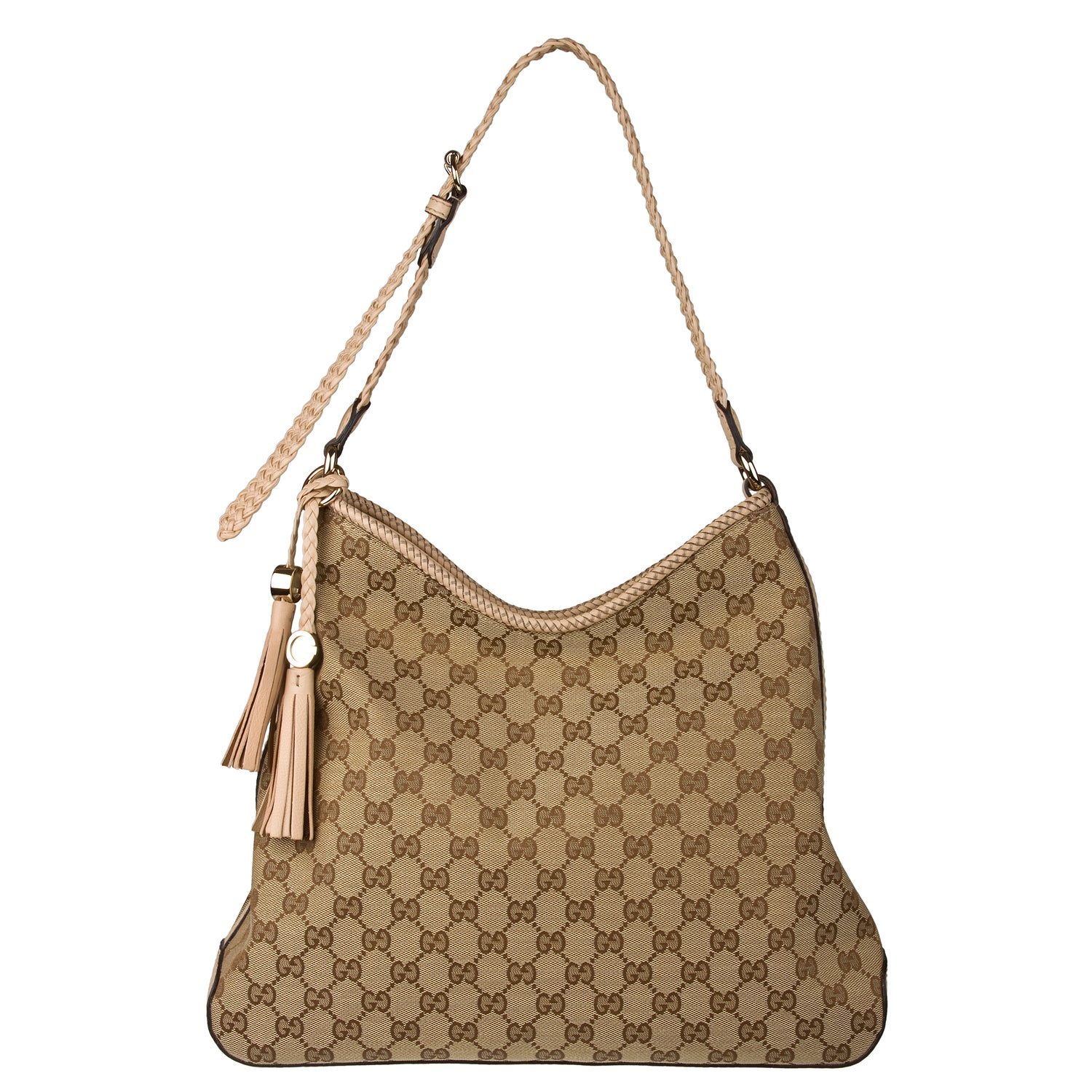 Gucci Marrakech Beige Canvas Medium Hobo Free Shipping Today