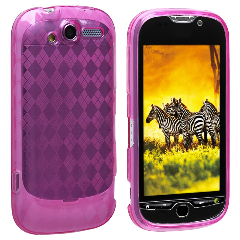 Clear Hot Pink Argyle TPU Rubber Skin Case for HTC T-Mobile myTouch 4G