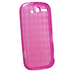 Clear Hot Pink Argyle TPU Rubber Skin Case for HTC T-Mobile myTouch 4G - Thumbnail 1