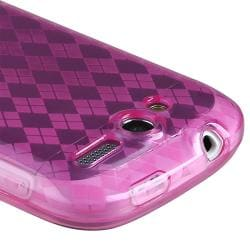 Clear Hot Pink Argyle TPU Rubber Skin Case for HTC T-Mobile myTouch 4G - Thumbnail 2