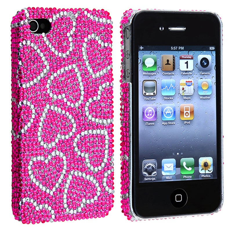 Pink with White Heart Bling Rear Snap-on Case for Apple iPhone 4/ 4S