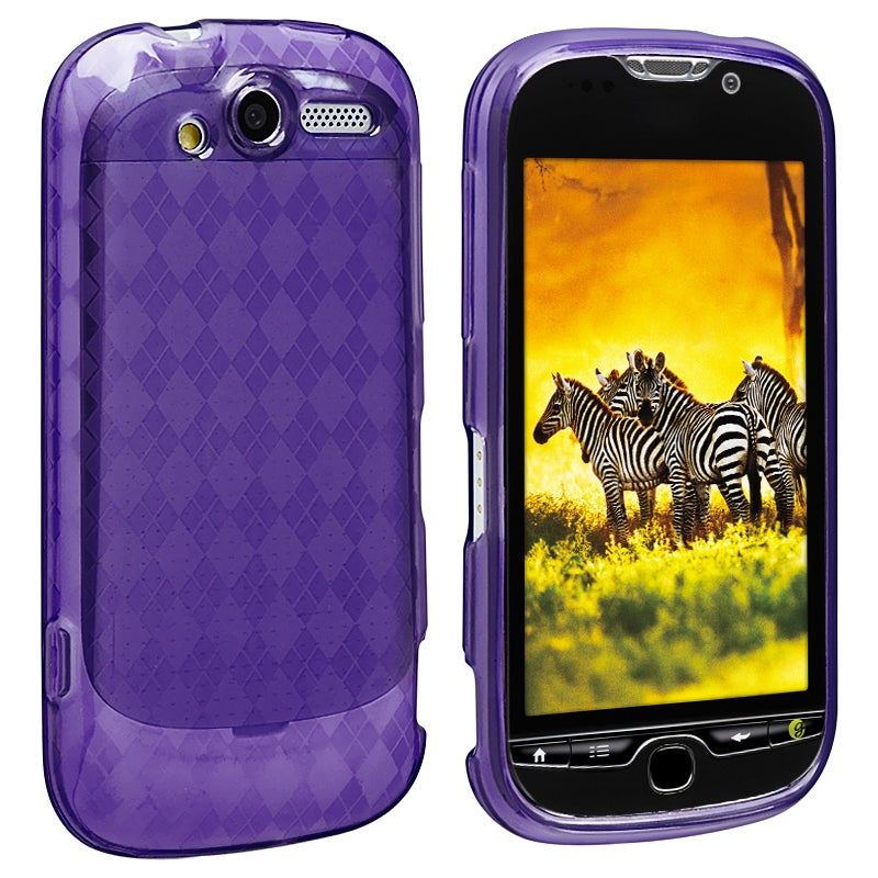 Clear Purple Argyle TPU Rubber Skin Case for HTC T-Mobile myTouch 4G
