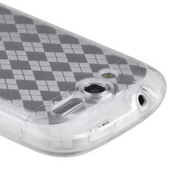 Clear Argyle TPU Rubber Skin Case for HTC T-Mobile myTouch 4G - Thumbnail 1
