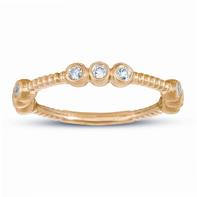 14k Yellow Gold 1/5ct TDW Diamond Stackable Ring (G-H, I1-I2)