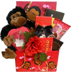 I'm Wild About You!' Valentine's Day Chocolate Gift Basket with Plush Monkey