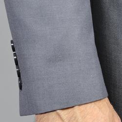 Men's Grey Sharkskin Wool/Silk Blend 3-button Suit