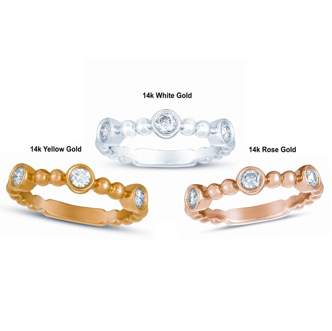 14k Gold 1/3ct TDW Diamond Beaded Stackable Ring (G-H, I1-I2)