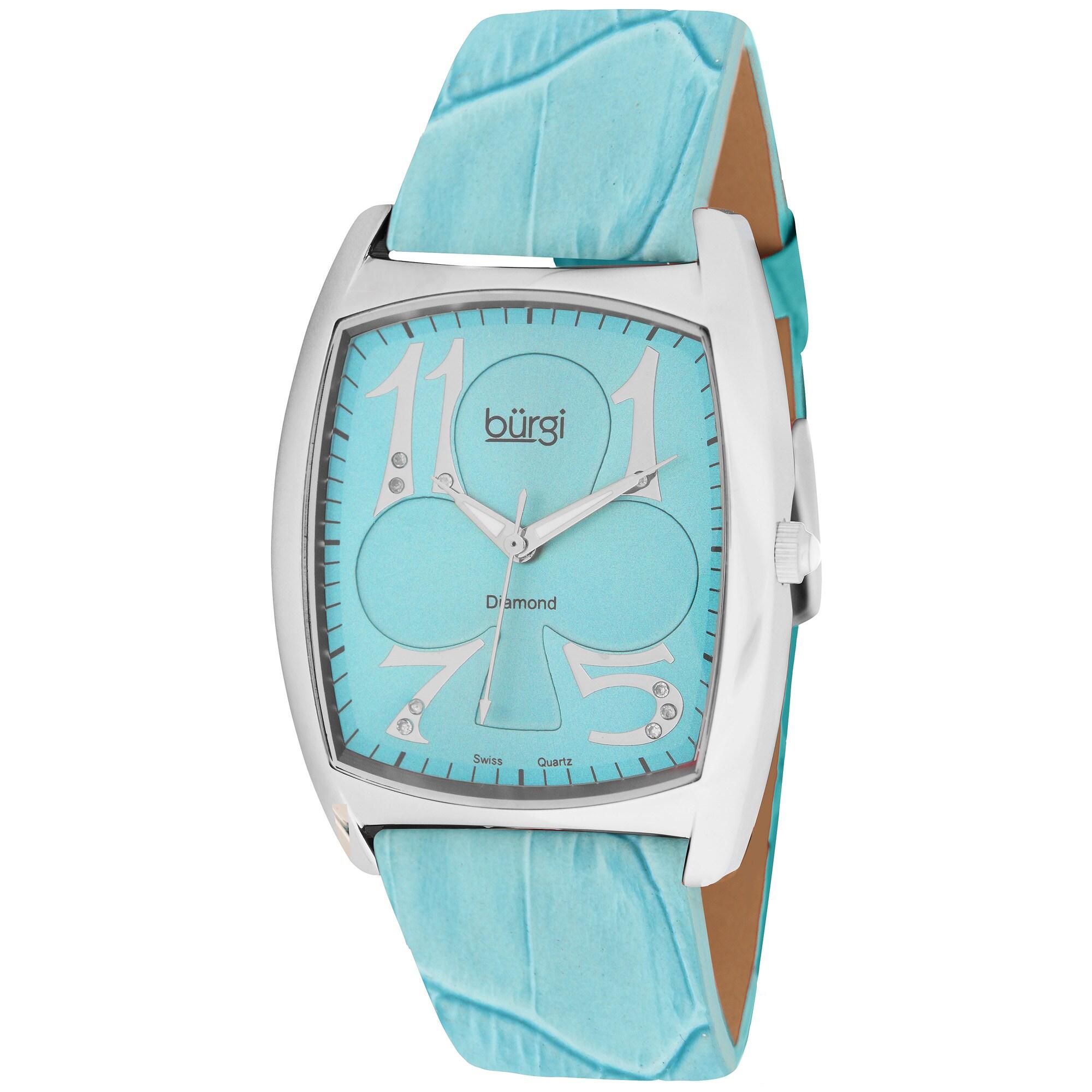 Burgi Women's 'Heart O' Diamonds' Swiss-Quartz Diamond Strap Watch