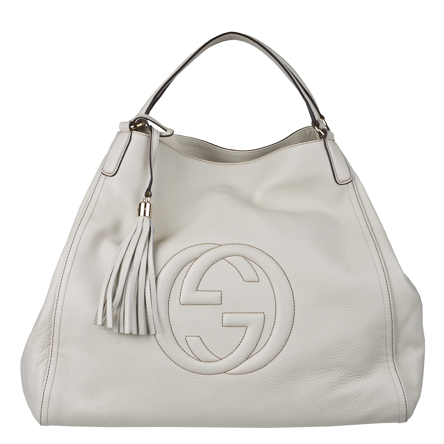 Gucci White Leather Medium Soho Hobo Bag Free Shipping Today
