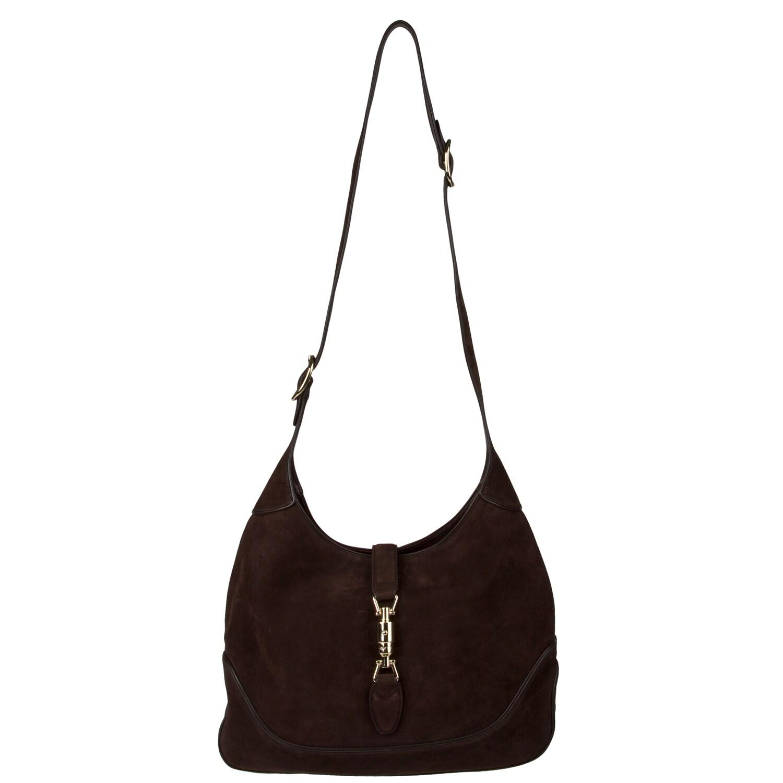 Gucci Chocolate Suede Hobo Handbag
