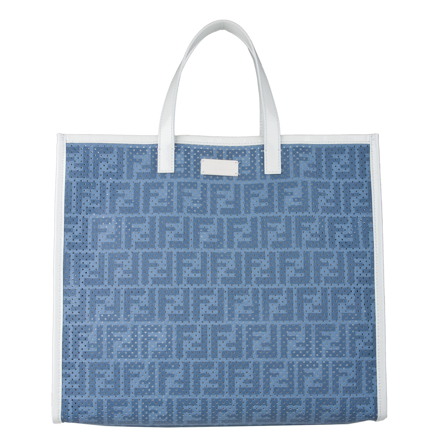 Fendi Blue Perforated Tote Bag - Thumbnail 0