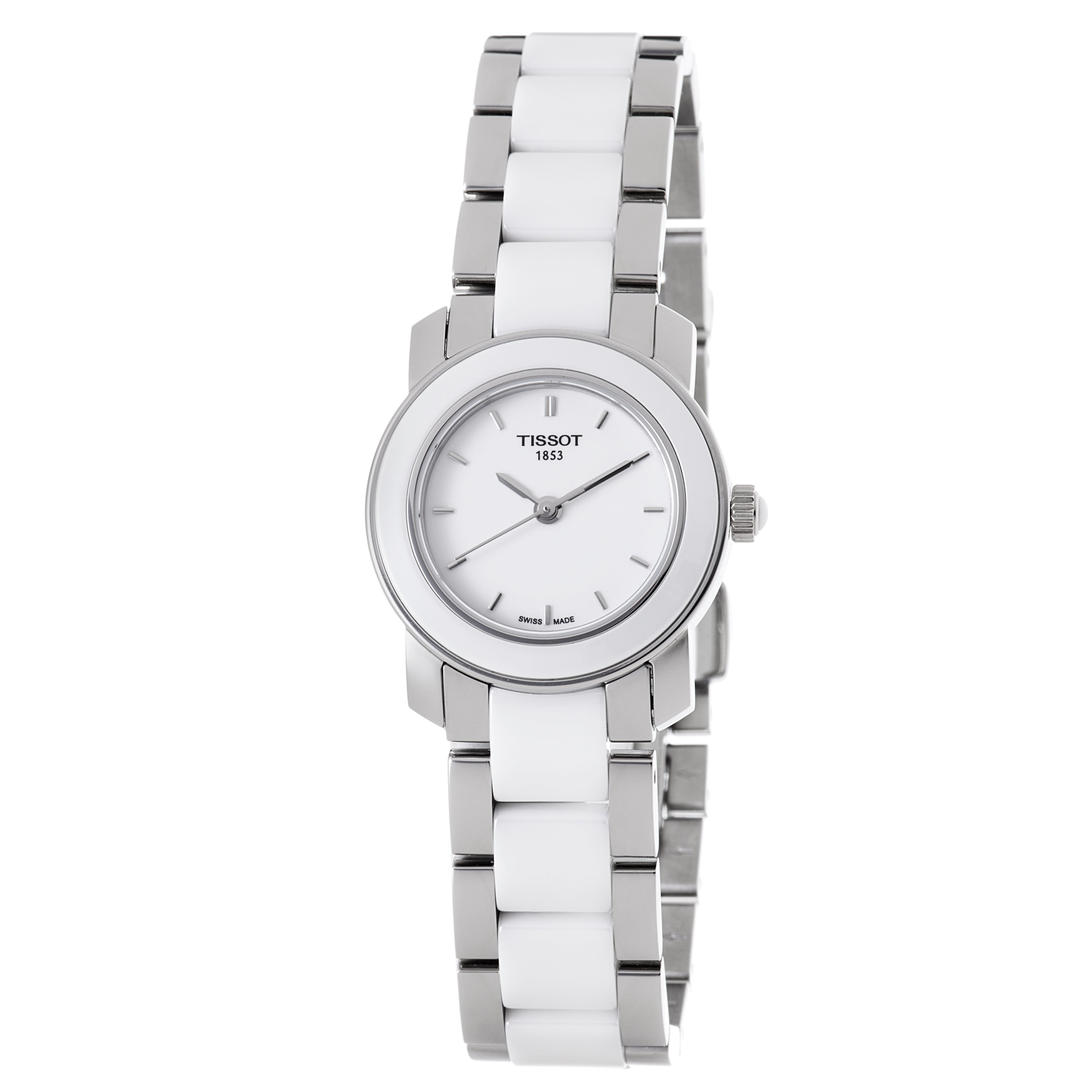 Shop Tissot Women's 'Cera' Stainless Steel White Ceramic Quartz Watch - Free Shipping Today - Overstock.com - 6478031