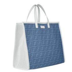 Fendi Blue Perforated Tote Bag - Thumbnail 1