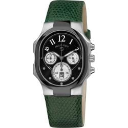 Philip Stein Women's 'Classic Chrono' Black Dial Green Strap Watch