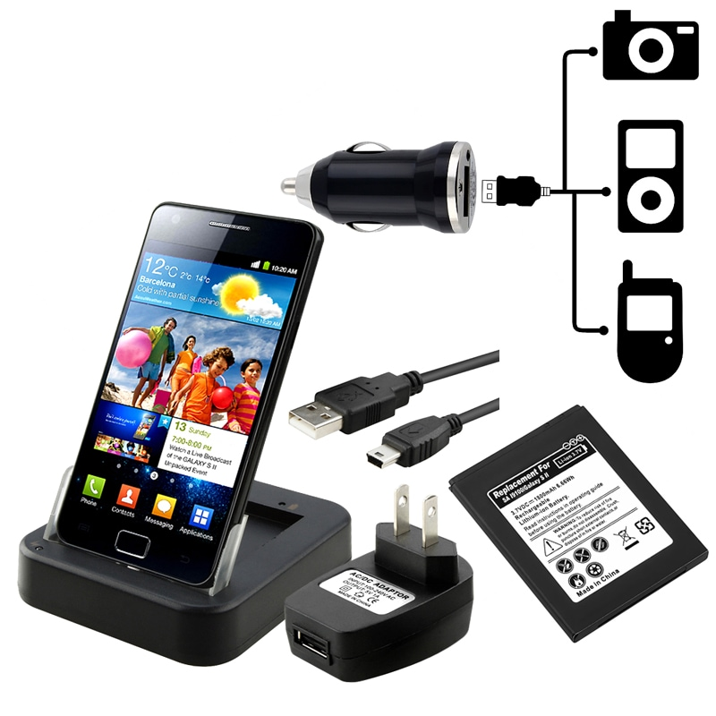 Li-Ion Battery/ Cradle Charger/ Adapter for Samsung Galaxy S II i9100