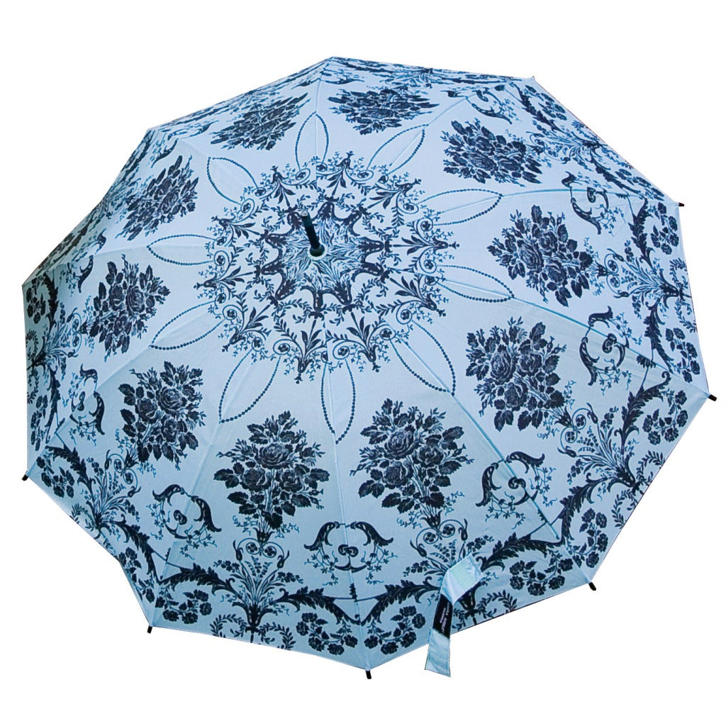 Laura Ashley Charcoal/Blue Exotic Floral Automatic-opening Umbrella