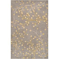 Hand Tufted Gray Floral Wool Jeweled Rug (7'6 x 9'6)