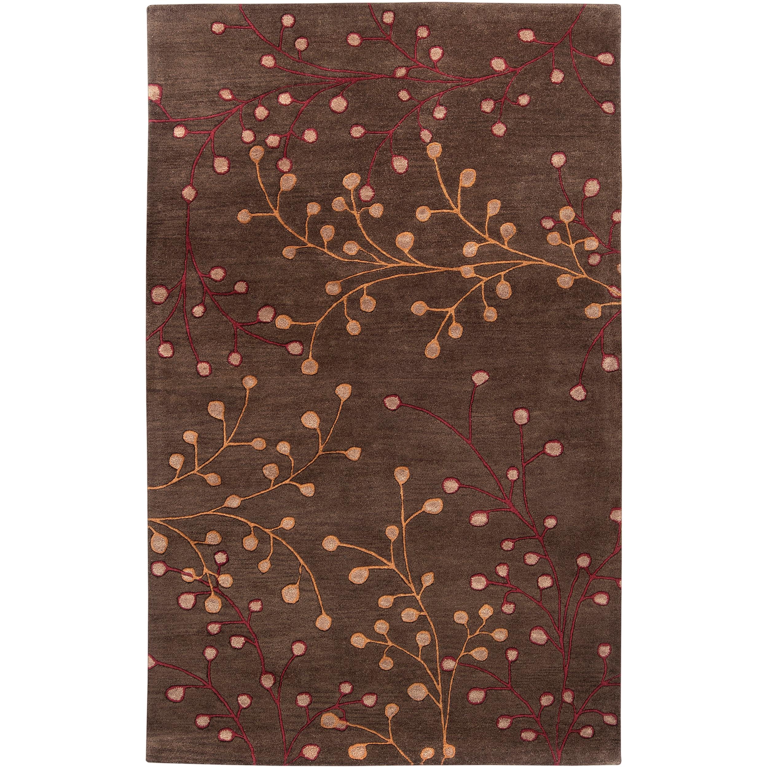 Hand-tufted 'Web' Chocolate Wool Rug (7'6 x 9'6)