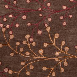 Hand-tufted 'Web' Chocolate Wool Rug (7'6 x 9'6) - Thumbnail 2