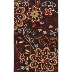 Hand-tufted 'Terra' Chocolate Wool Area Rug (7'6 x 9'6) - Thumbnail 0