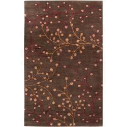 Hand-tufted 'Web' Chocolate Wool Area Rug - 7'6 x 9'6 - Thumbnail 0