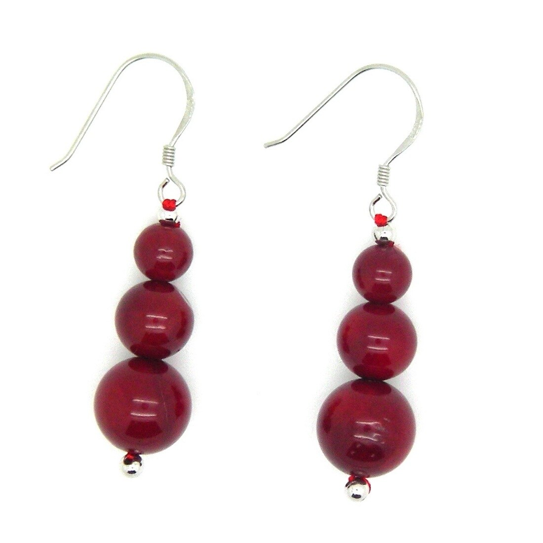 Pearlz Ocean Sterling Silver Red Coral Journey Earrings