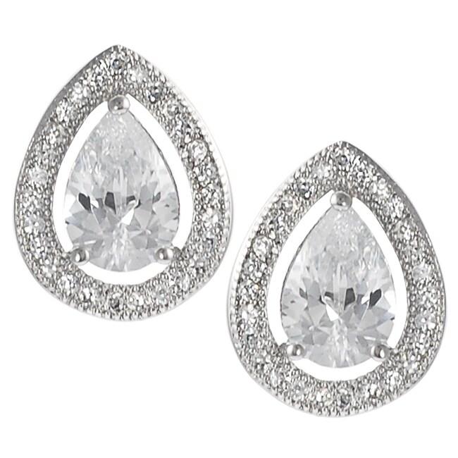 Journee Silvertone Cubic Zirconia Teardrop Earrings