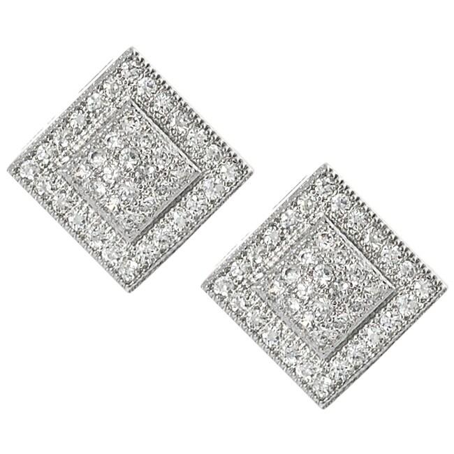 Journee Silvertone Pave-set Cubic Zirconia Square Earrings