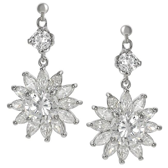 Journee Silvertone Cubic Zirconia Flower Dangle Earrings