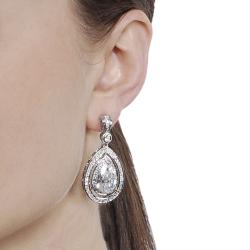 Journee Silvertone Cubic Zirconia Teardrop Dangle Earrings
