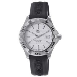 Tag Heuer Men's 'Aquaracer 5' Silver Dial Black Silicone Strap Watch