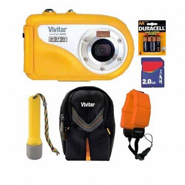 Vivitar Vivicam V8400 8.1MP Yellow Underwater Digital Camera with 2GB Kit