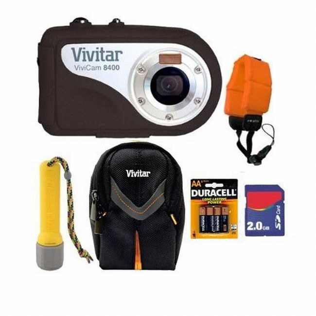 Vivitar Vivicam V8400 8.1MP Black Underwater Digital Camera with 2GB Kit