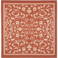 "Safavieh Resorts Scrollwork Red/ Natural Indoor/ Outdoor Rug - 7'10"" x 7'10"" square"