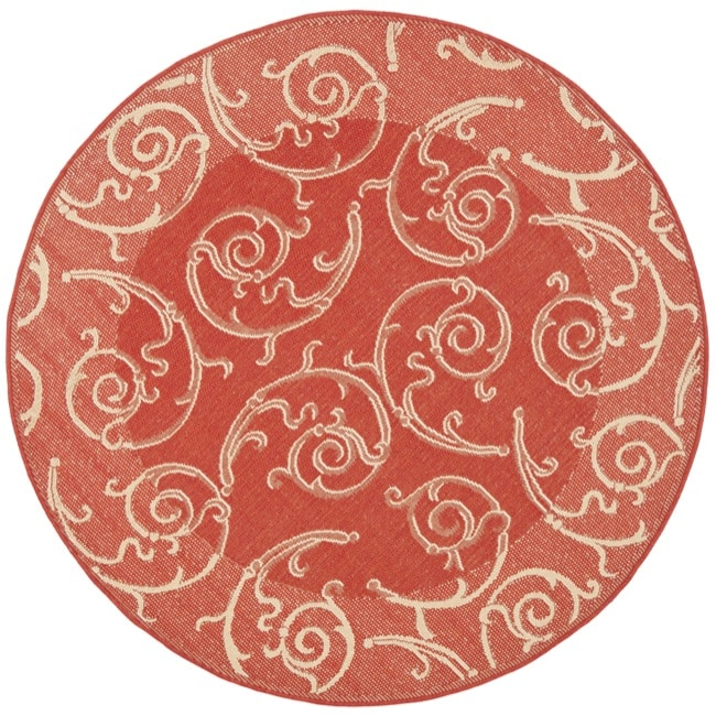 Safavieh Oasis Scrollwork Red Natural Indoor Outdoor Rug