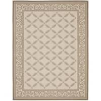 Safavieh Beige/ Dark Beige Indoor Outdoor Rug - 6'7 x 9'6