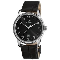 Eterna Men's 'Soleure' Black Dial Black Leather Strap Automatic Watch