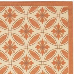 Safavieh Cream/ Terracotta Indoor Outdoor Rug (8' x 11'2) - Thumbnail 1
