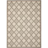 Safavieh Beige/ Dark Beige Rectangular Indoor Outdoor Rug - 8' x 11'2