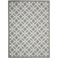 Safavieh Light Grey/ Dark Grey Indoor Outdoor Rug (4' x 5'7) - 4' x 5'-7