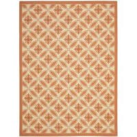 Safavieh Cream/ Terracotta Indoor Outdoor Rug - 8' x 11'2