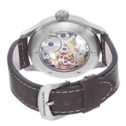 Zeno Men's 'Oversized' Skeleton Dial Brown Strap Automatic Watch