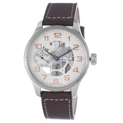 Zeno Men's 'Oversized' Skeleton Dial Brown Strap Automatic Watch - Thumbnail 0