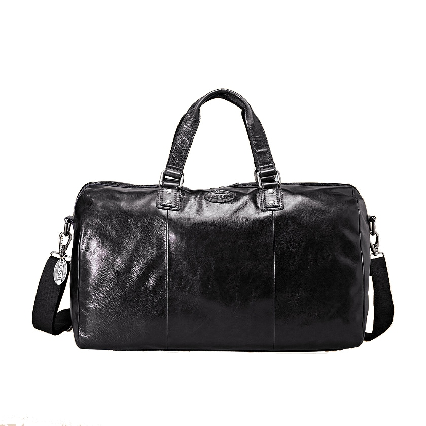 Fossil 'Transit' Black Leather Duffel Bag