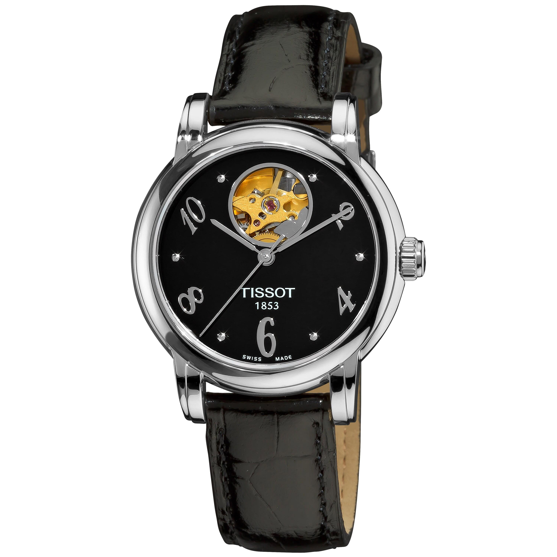 Tissot Women's 'Lady Heart' Automatic Open Wheel Black Leather Watch