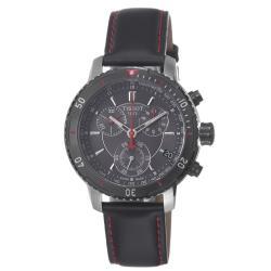Tissot Men's 'PRS-200' Black Dial Black Leather Strap Watch
