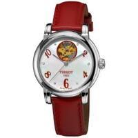 Tissot Women's  'Lady Heart' Automatic Open Wheel Diamond Red Leather Watch